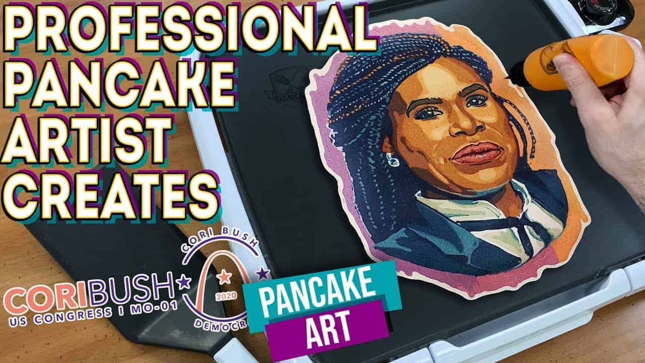 Professional Pancake Artist Creates - Cori Bush Pancake Art