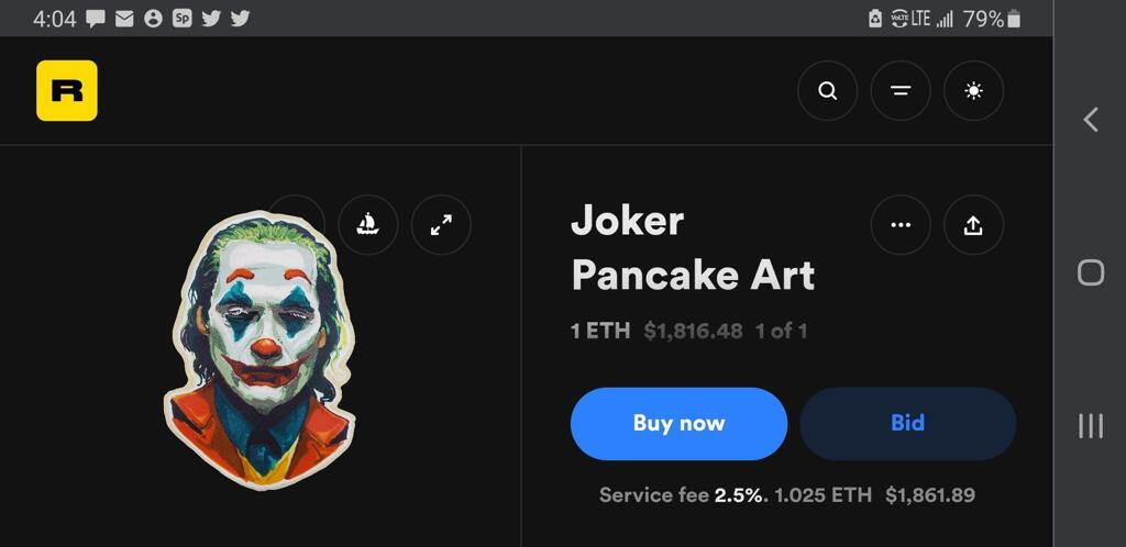 A screenshot of the token page for the world's first pancake art NFT Joker Pancake Art, showing the initial price of 1 ethereum token on the website Rarible